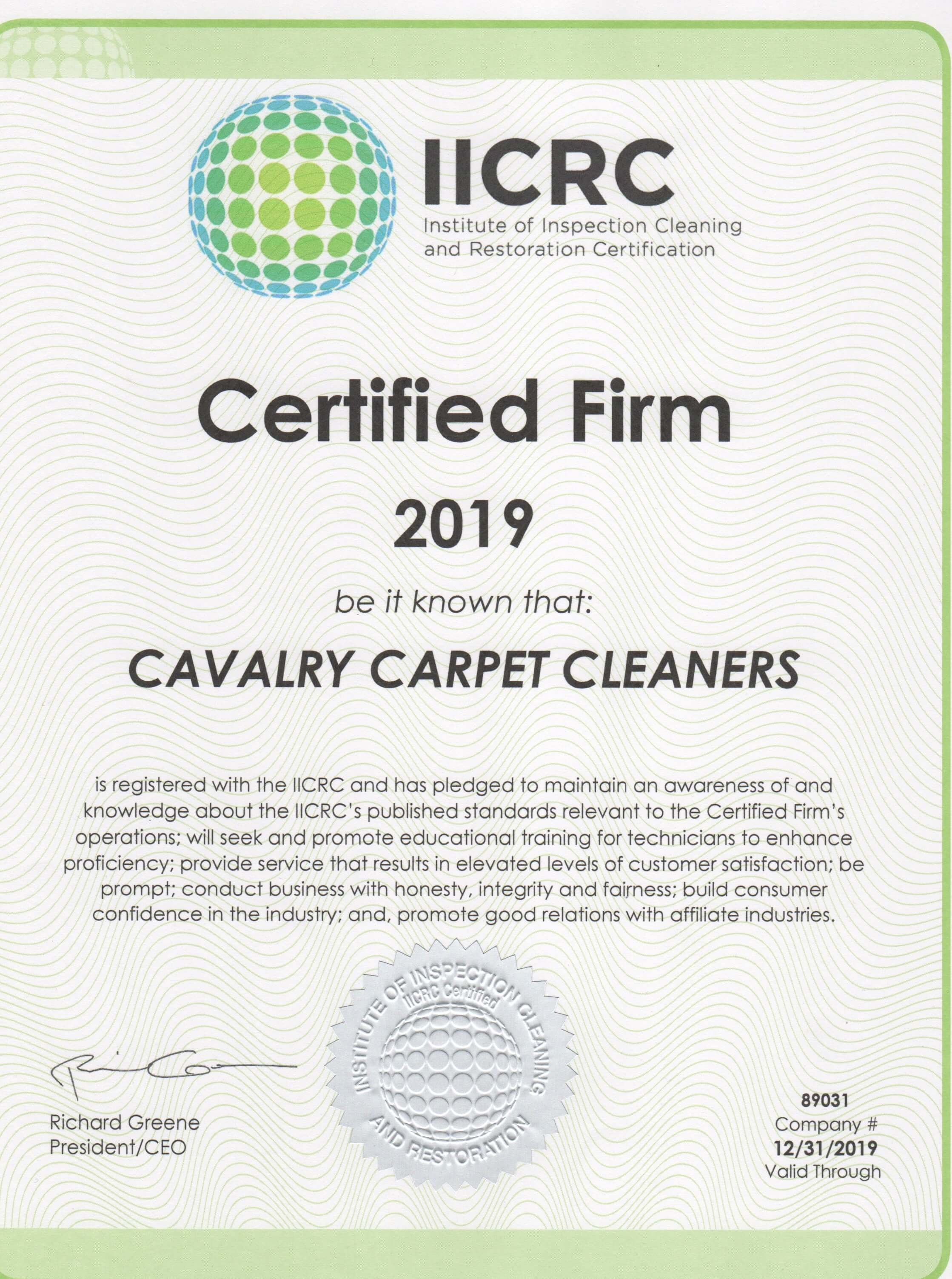 IICRC Firm Cavalry Carpet Cleaning